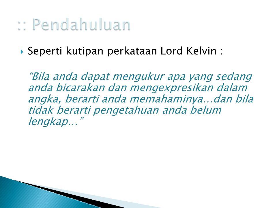 :: Pendahuluan Seperti kutipan perkataan Lord Kelvin :