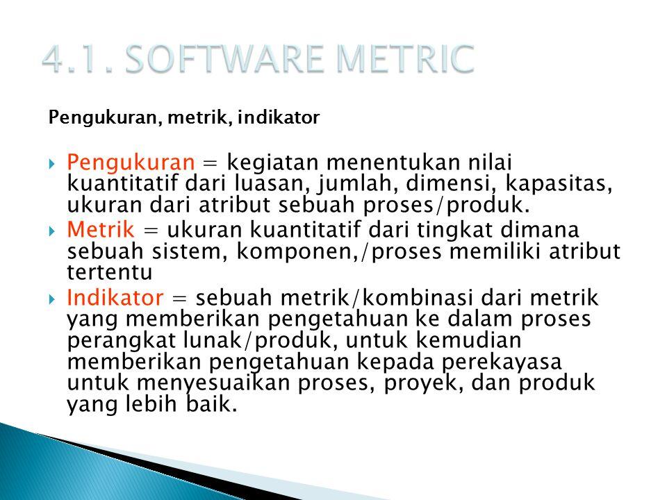 4.1. SOFTWARE METRIC Pengukuran, metrik, indikator.