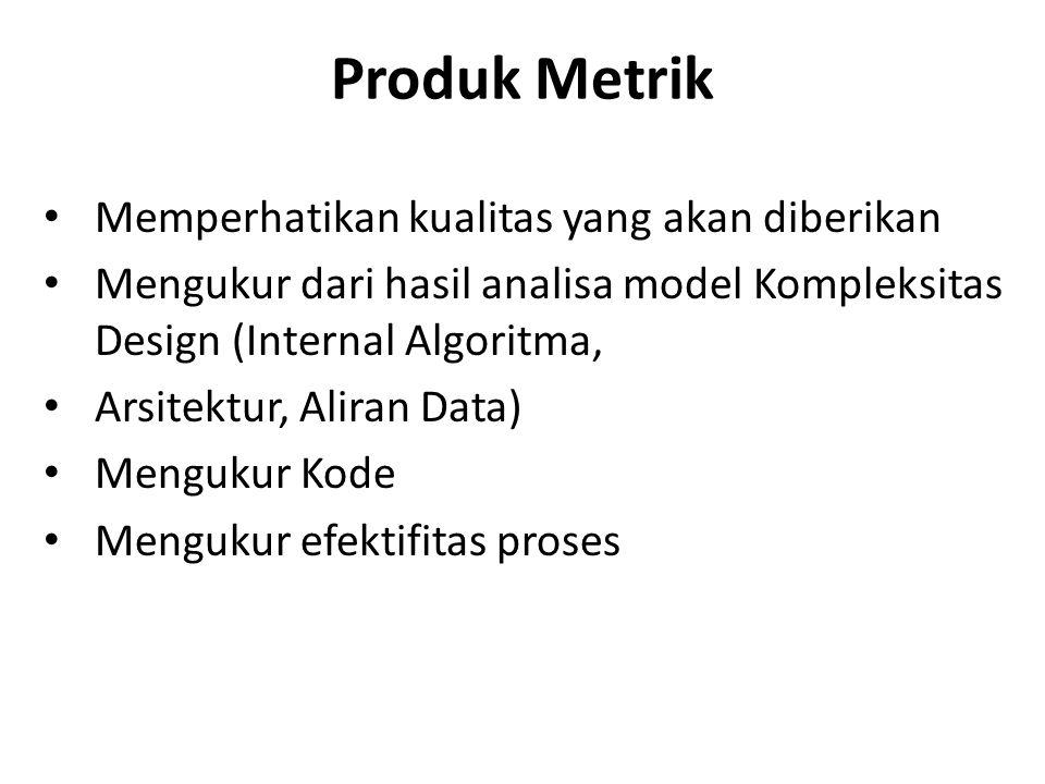 Produk Metrik Memperhatikan kualitas yang akan diberikan