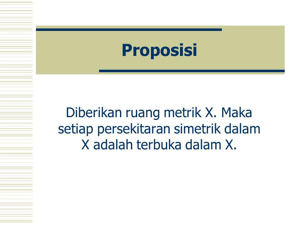 Proposisi Diberikan ruang metrik X.