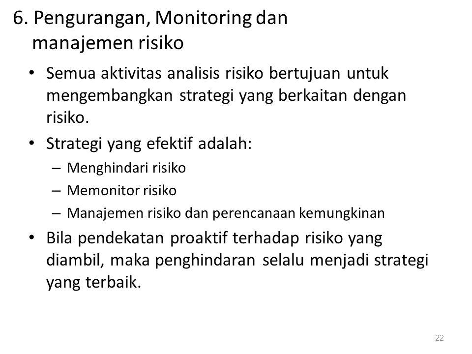 6. Pengurangan, Monitoring dan manajemen risiko