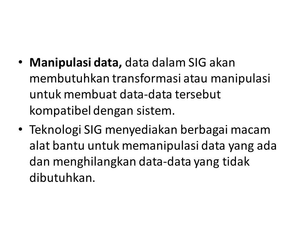 Manipulasi data, data dalam SIG akan membutuhkan transformasi atau manipulasi untuk membuat data-data tersebut kompatibel dengan sistem.
