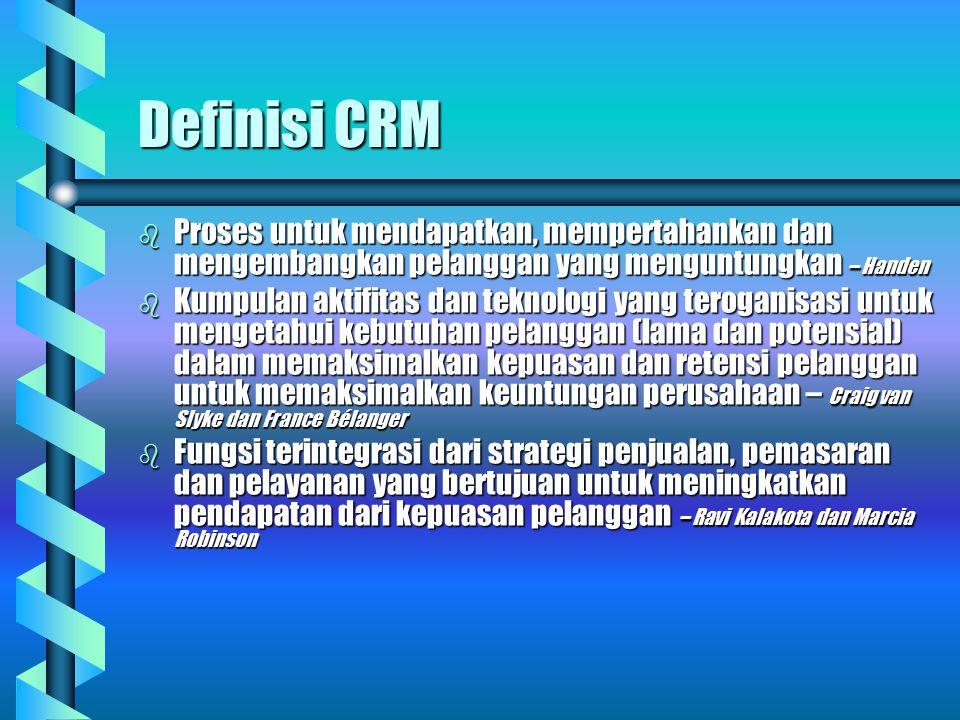 Definisi CRM Proses untuk mendapatkan, mempertahankan dan mengembangkan pelanggan yang menguntungkan – Handen.