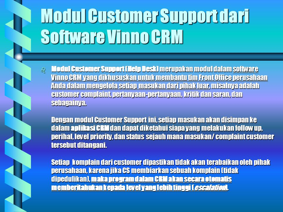 Modul Customer Support dari Software Vinno CRM