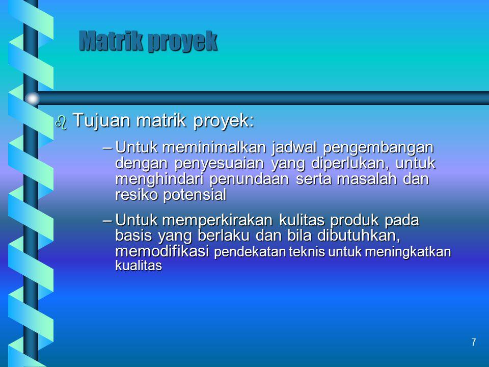 Matrik proyek Tujuan matrik proyek: