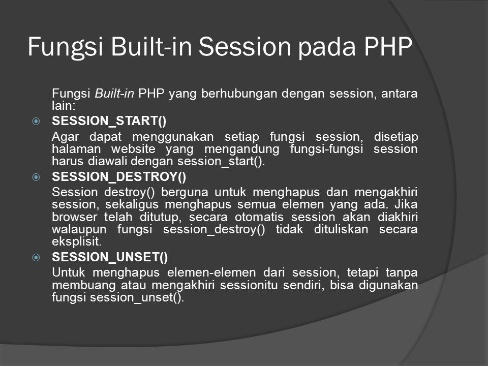 Fungsi Built-in Session pada PHP
