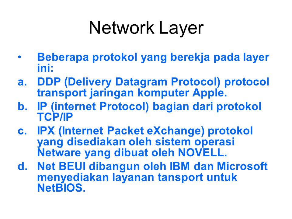 Network Layer Beberapa protokol yang berekja pada layer ini: