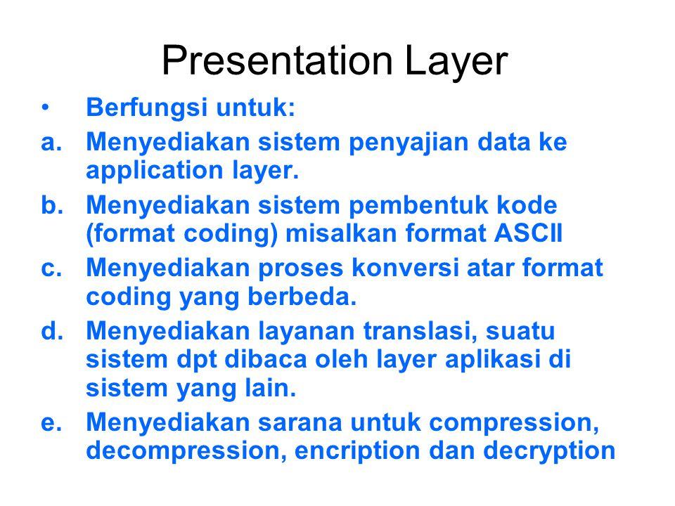 Presentation Layer Berfungsi untuk: