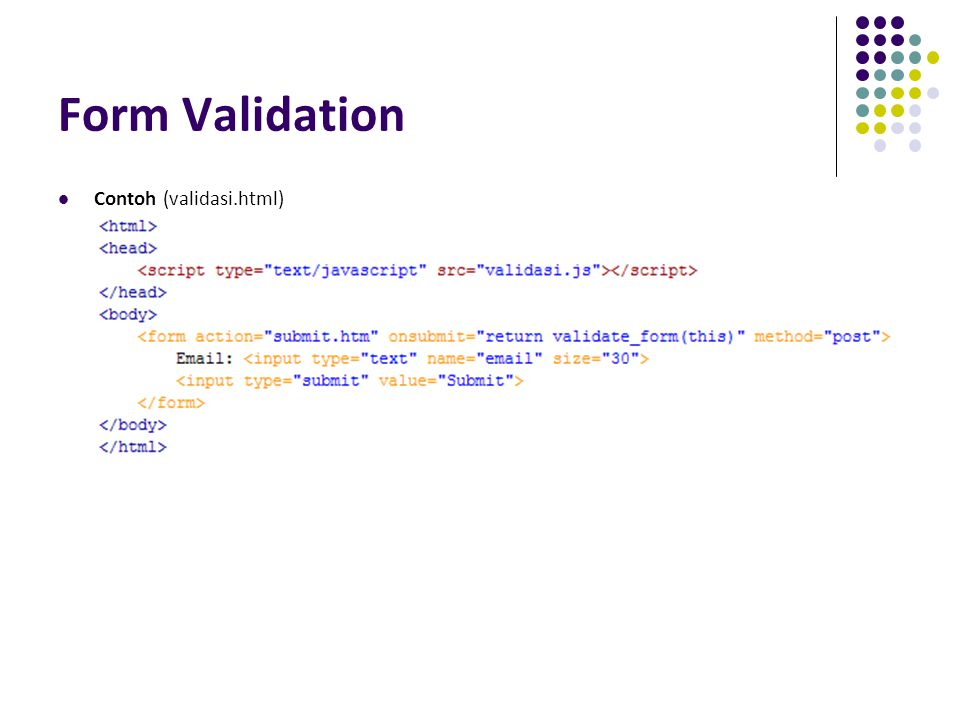 Form Validation Contoh (validasi.html)