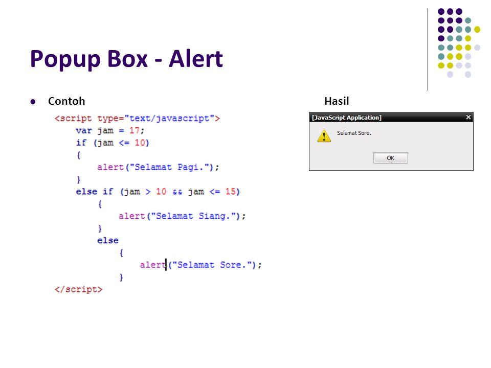 Popup Box - Alert Contoh Hasil