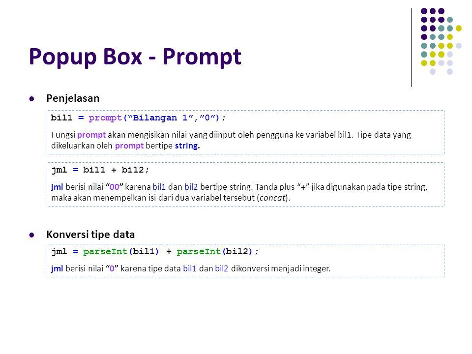 Popup Box - Prompt Penjelasan Konversi tipe data