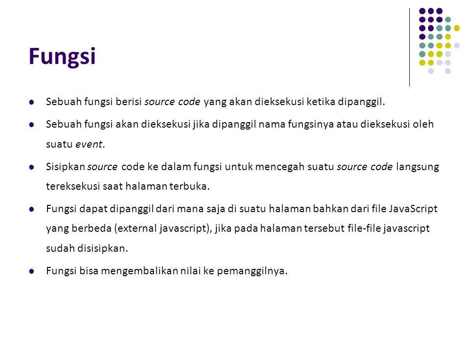 Fungsi Sebuah fungsi berisi source code yang akan dieksekusi ketika dipanggil.