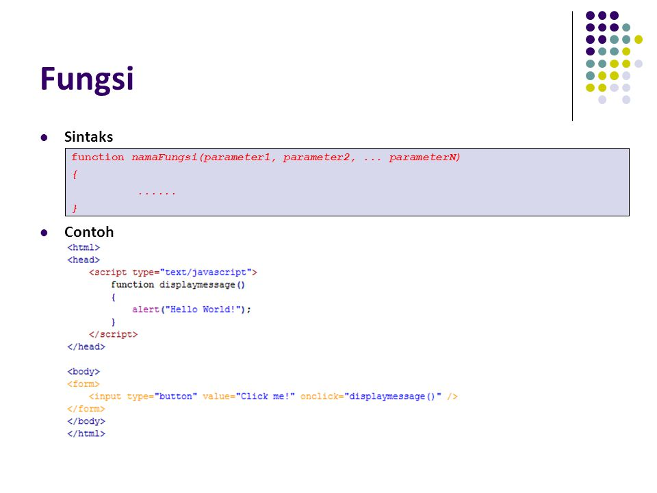 Fungsi Sintaks Contoh function namaFungsi(parameter1, parameter2, ... parameterN) { ...... }