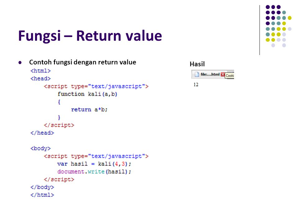 Fungsi – Return value Contoh fungsi dengan return value Hasil