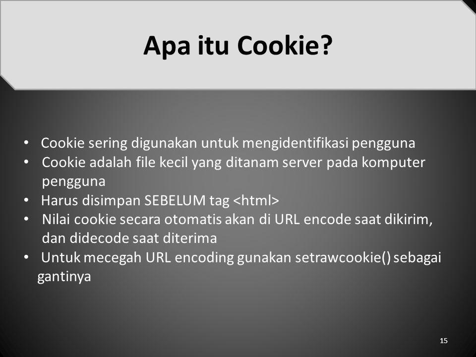 Apa itu Cookie Cookie sering digunakan untuk mengidentifikasi pengguna. Cookie adalah file kecil yang ditanam server pada komputer pengguna.