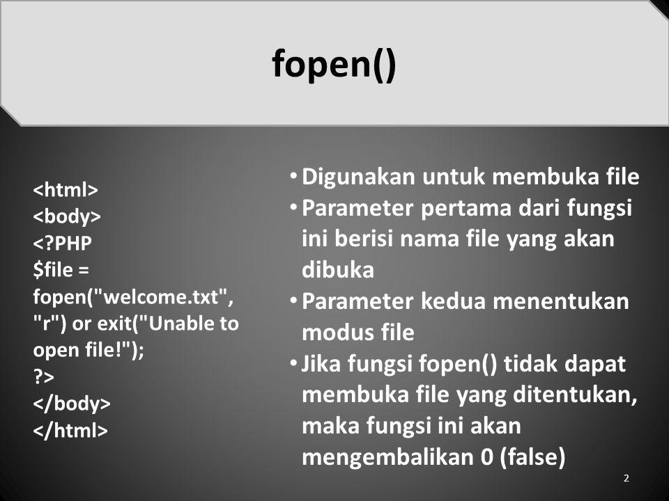 fopen() Digunakan untuk membuka file