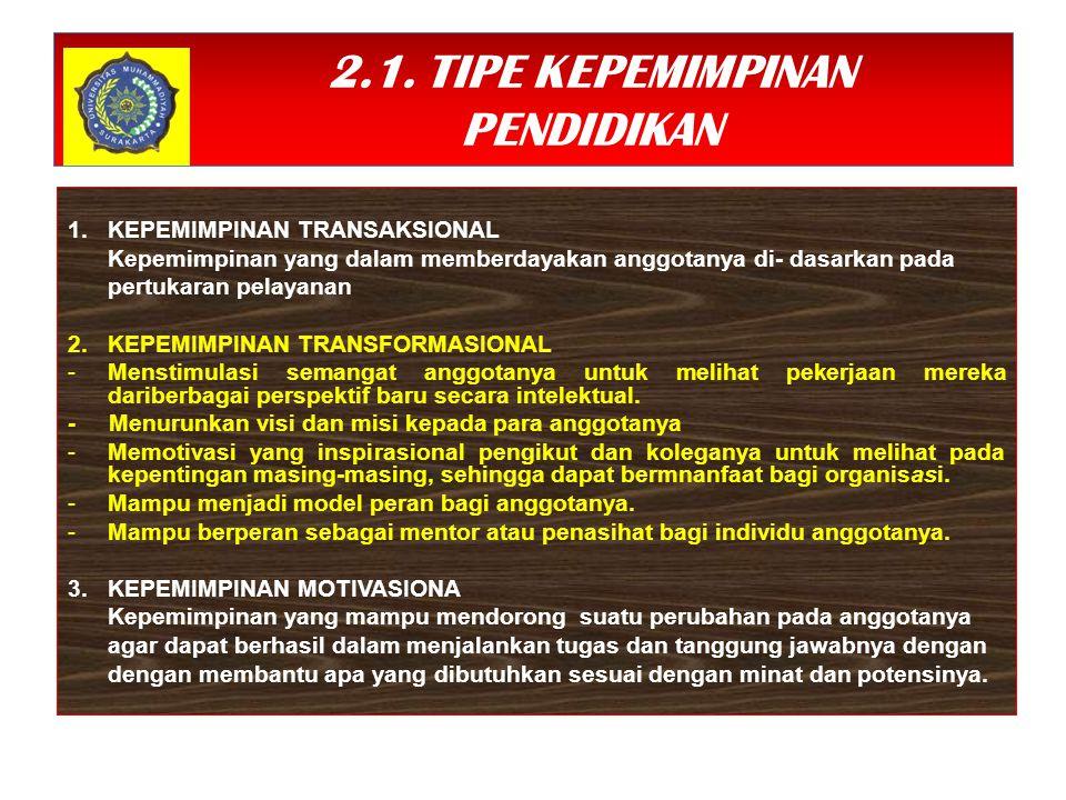 2.1. TIPE KEPEMIMPINAN PENDIDIKAN