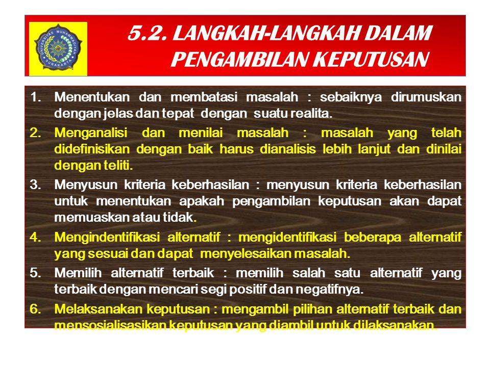 5.2. LANGKAH-LANGKAH DALAM PENGAMBILAN KEPUTUSAN
