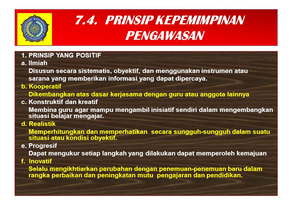 7.4. PRINSIP KEPEMIMPINAN PENGAWASAN