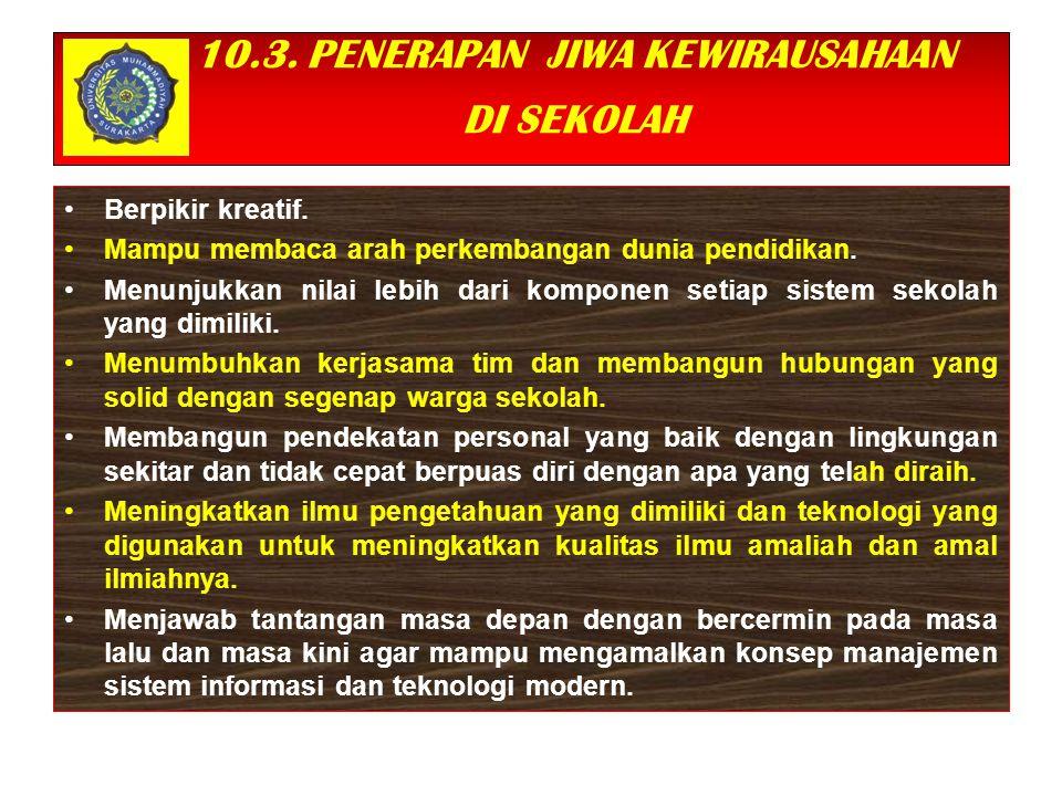 10.3. PENERAPAN JIWA KEWIRAUSAHAAN DI SEKOLAH