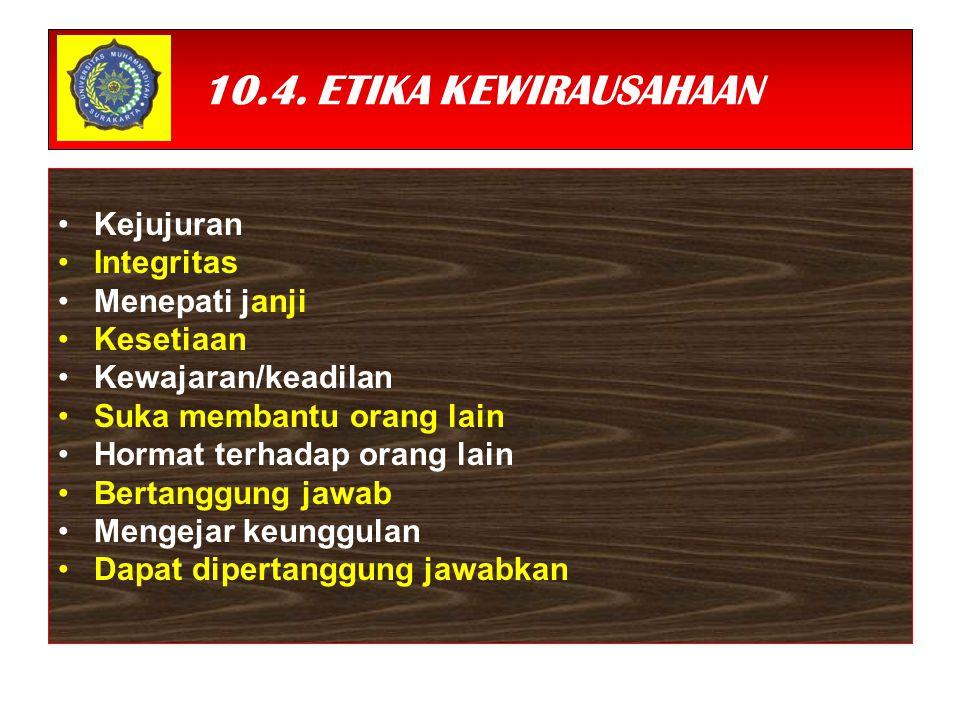 10.4. ETIKA KEWIRAUSAHAAN Kejujuran Integritas Menepati janji