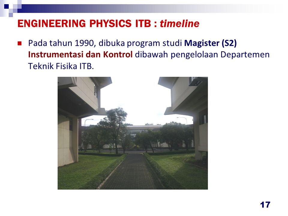ENGINEERING PHYSICS ITB : timeline