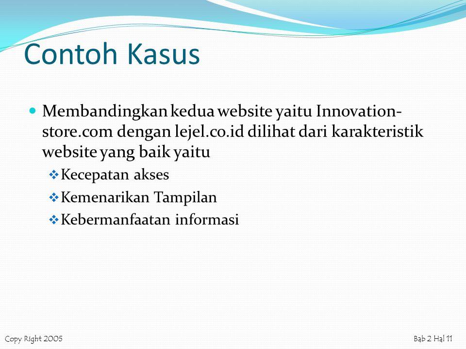 Contoh Kasus Membandingkan kedua website yaitu Innovation-store.com dengan lejel.co.id dilihat dari karakteristik website yang baik yaitu.
