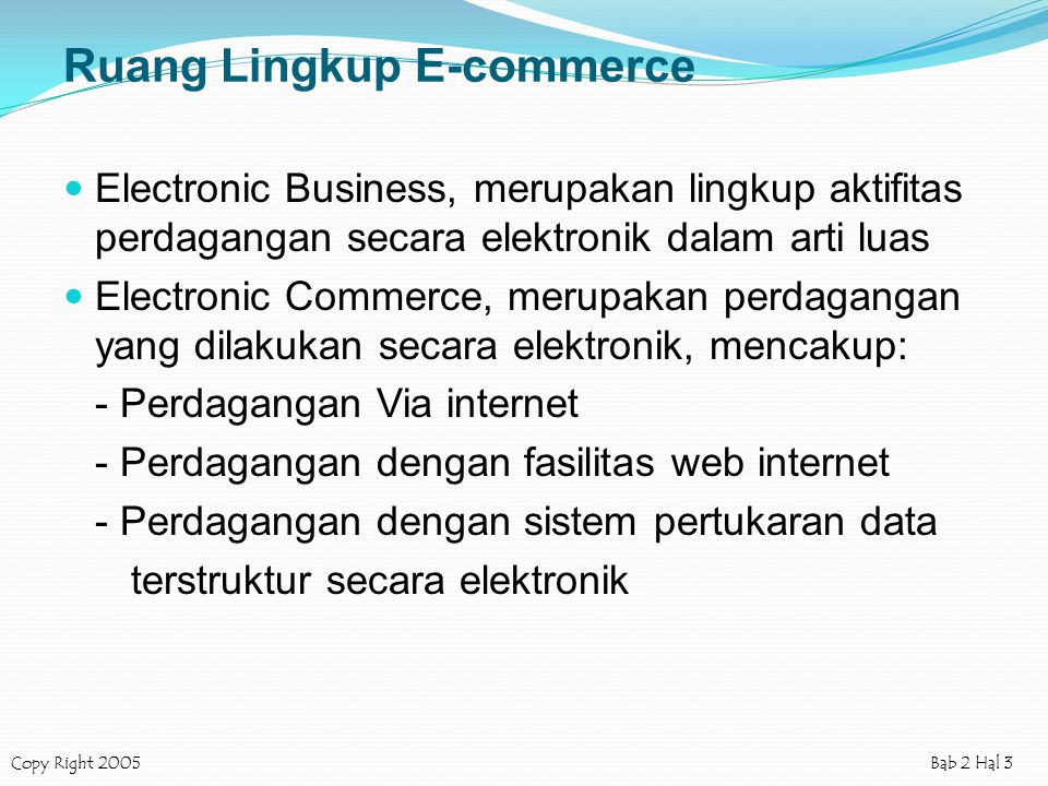 Ruang Lingkup E-commerce