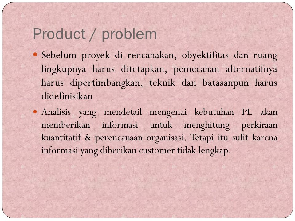 Product / problem