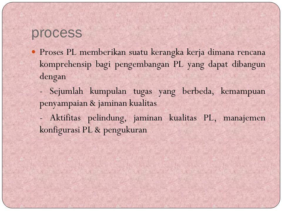 process Proses PL memberikan suatu kerangka kerja dimana rencana komprehensip bagi pengembangan PL yang dapat dibangun dengan.
