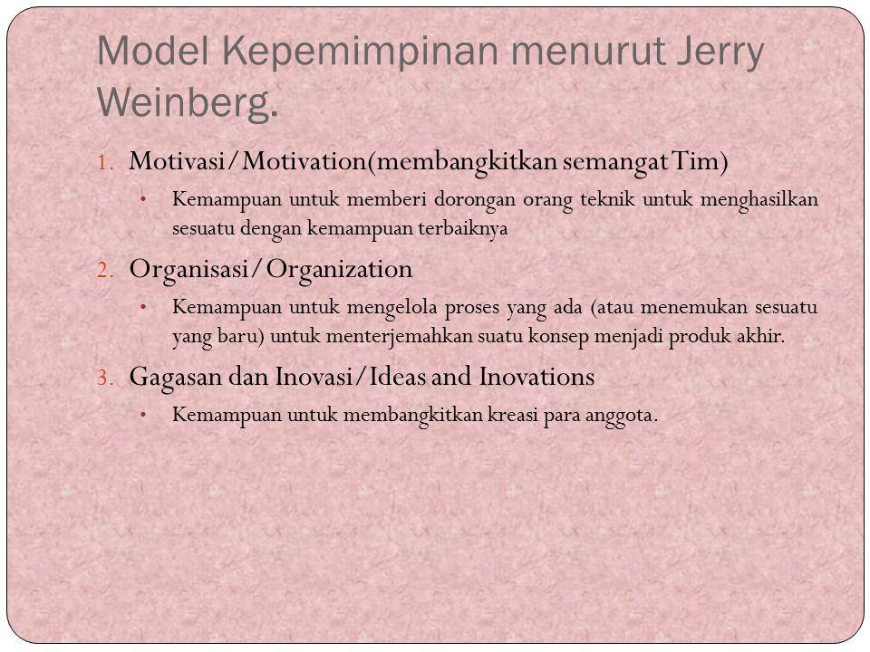 Model Kepemimpinan menurut Jerry Weinberg.