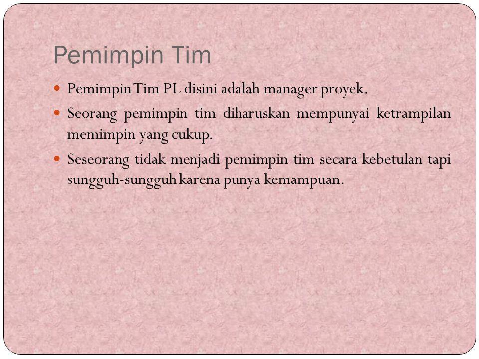 Pemimpin Tim Pemimpin Tim PL disini adalah manager proyek.