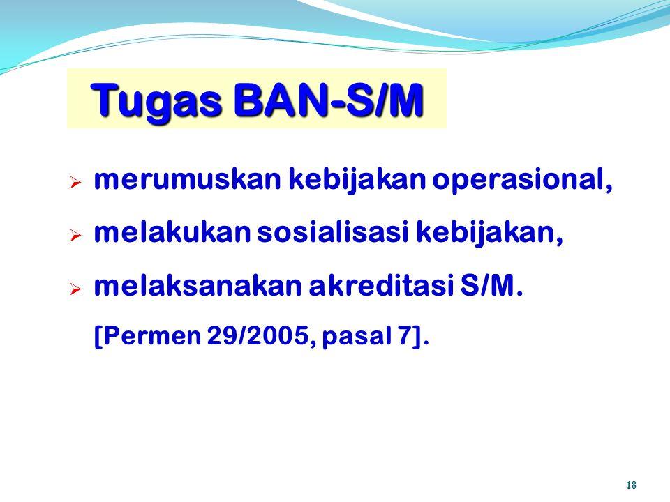 Tugas BAN-S/M merumuskan kebijakan operasional,