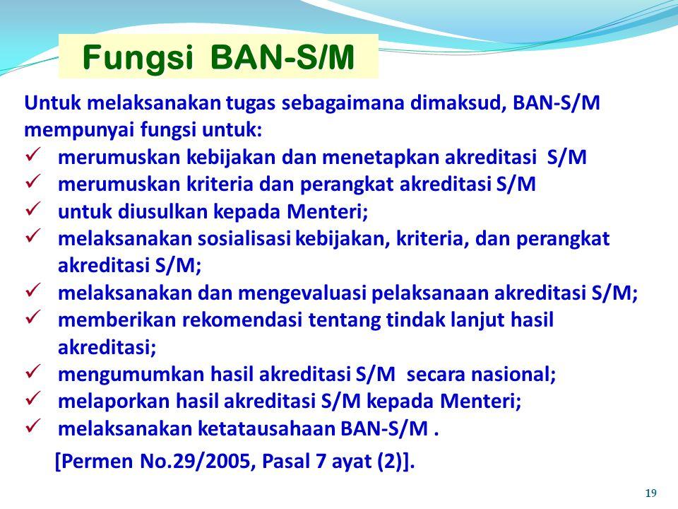 Fungsi BAN-S/M Untuk melaksanakan tugas sebagaimana dimaksud, BAN-S/M mempunyai fungsi untuk: merumuskan kebijakan dan menetapkan akreditasi S/M.