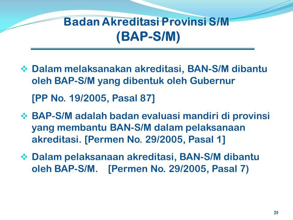 Badan Akreditasi Provinsi S/M (BAP-S/M)