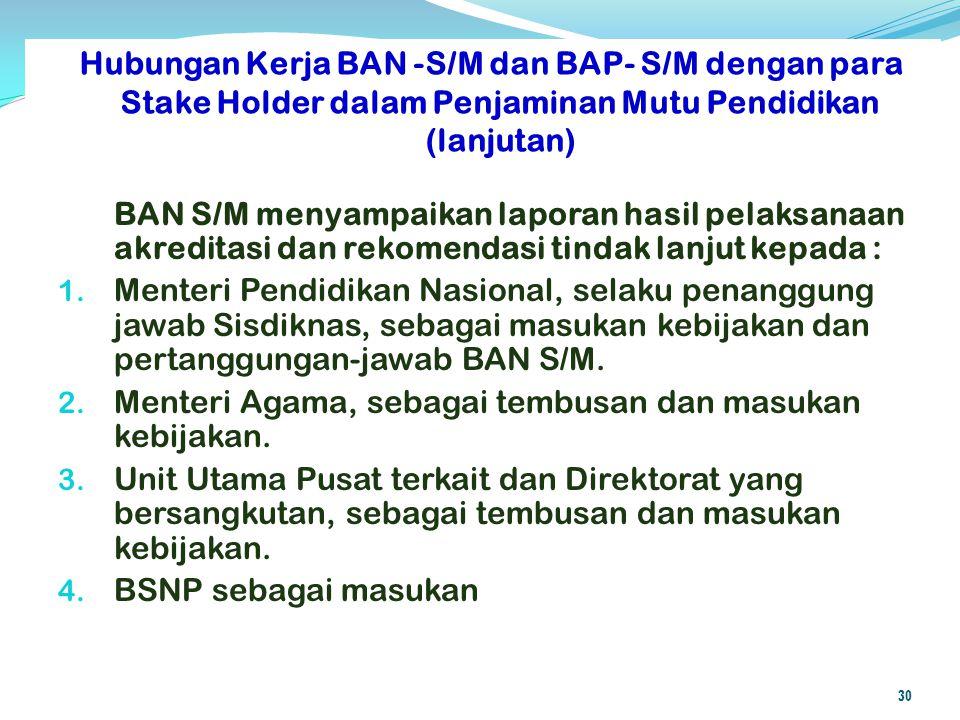 Hubungan Kerja BAN -S/M dan BAP- S/M dengan para Stake Holder dalam Penjaminan Mutu Pendidikan (lanjutan)