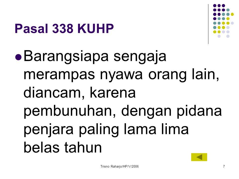 Pasal 338 KUHP Barangsiapa sengaja merampas nyawa orang lain, diancam, karena pembunuhan, dengan pidana penjara paling lama lima belas tahun.