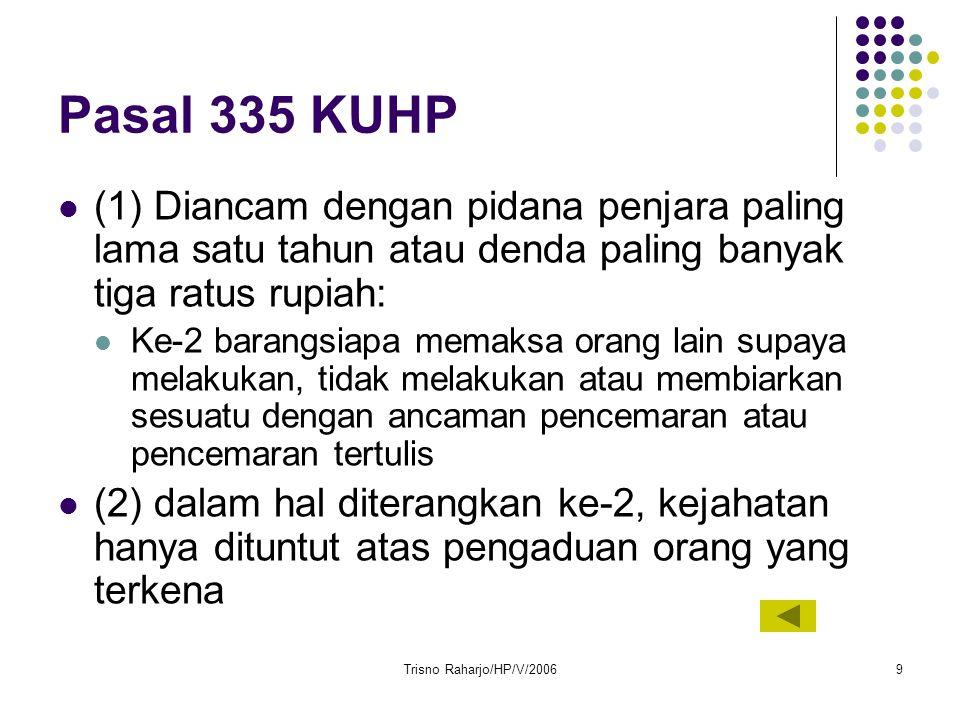 Pasal 335 KUHP (1) Diancam dengan pidana penjara paling lama satu tahun atau denda paling banyak tiga ratus rupiah: