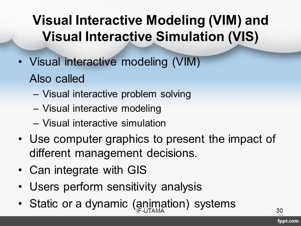 Visual Interactive Modeling (VIM) and Visual Interactive Simulation (VIS)