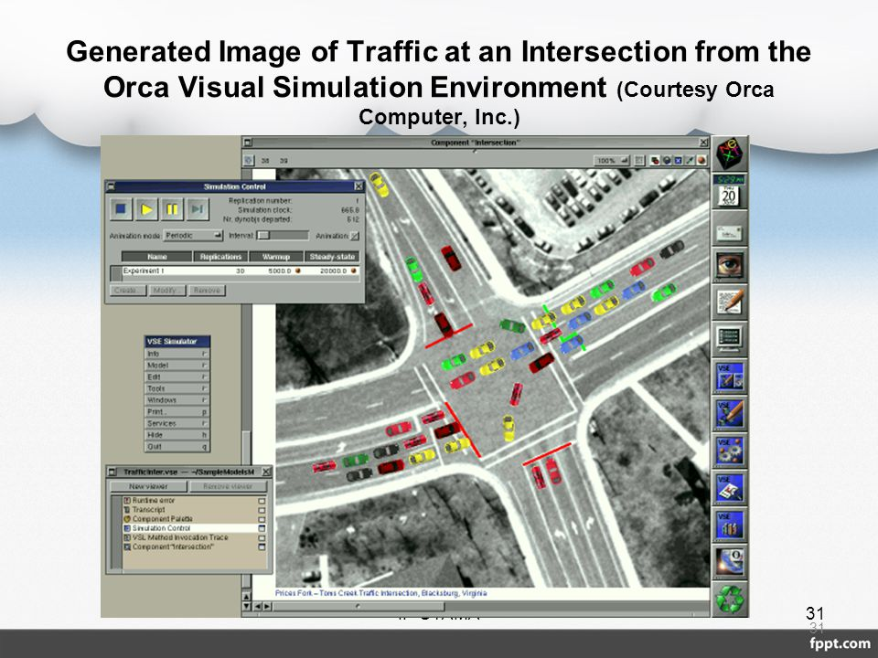 Generated Image of Traffic at an Intersection from the Orca Visual Simulation Environment (Courtesy Orca Computer, Inc.)
