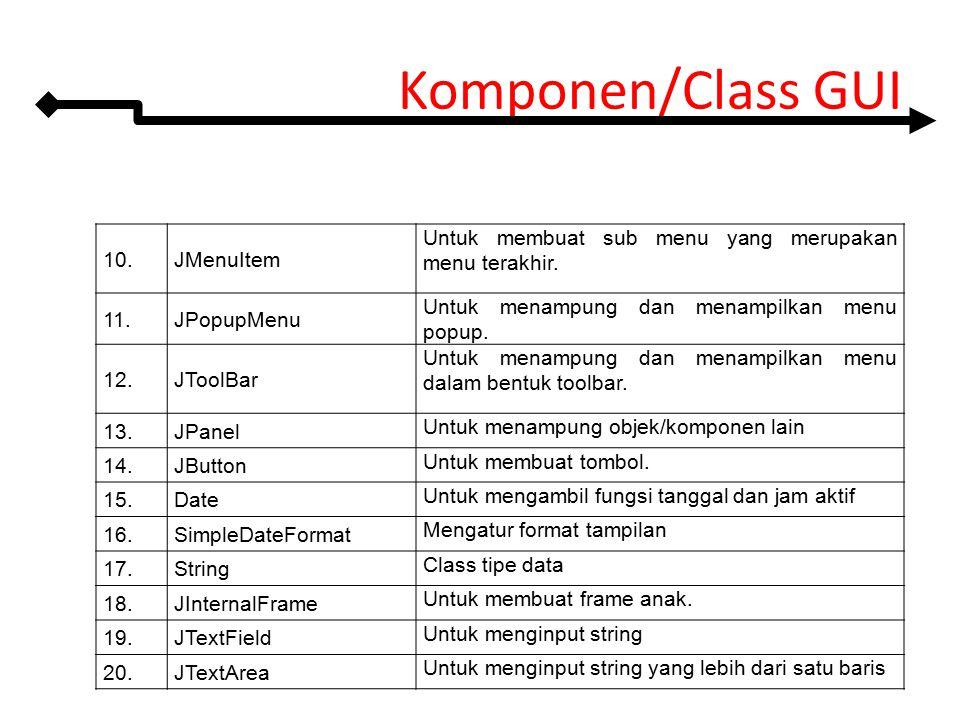 Komponen/Class GUI 10. JMenuItem