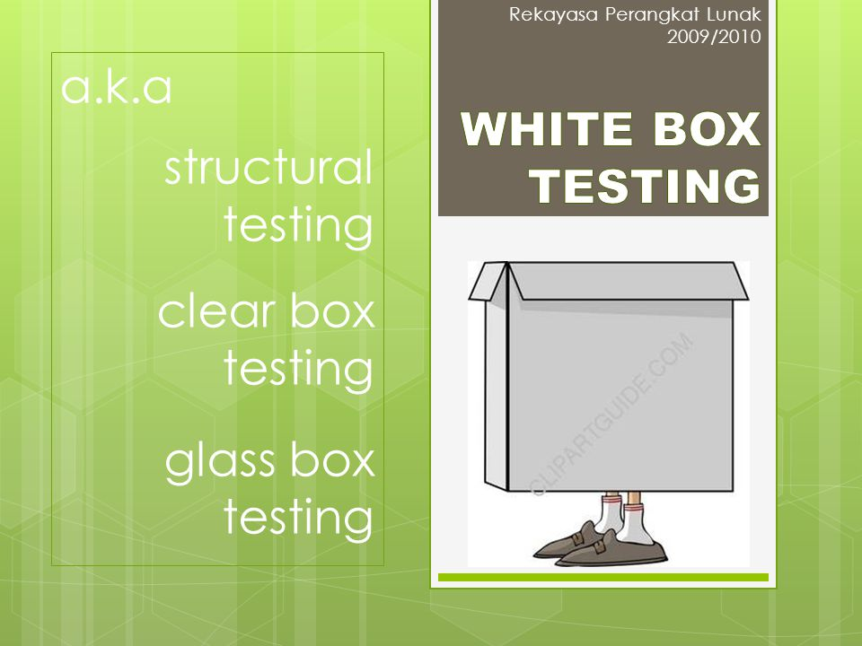 a.k.a structural testing WHITE BOX TESTING clear box testing