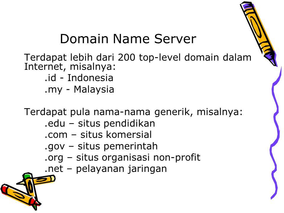 Domain Name Server Terdapat lebih dari 200 top-level domain dalam Internet, misalnya: .id - Indonesia.