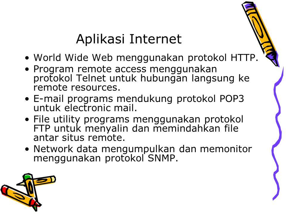 Aplikasi Internet World Wide Web menggunakan protokol HTTP.