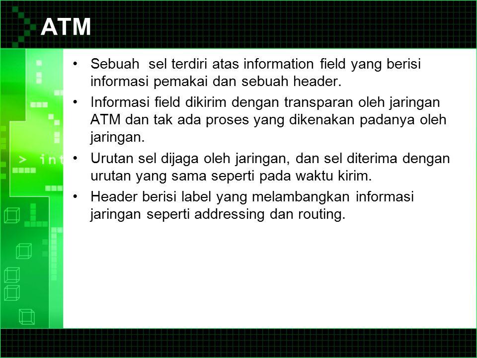 ATM Sebuah sel terdiri atas information field yang berisi informasi pemakai dan sebuah header.