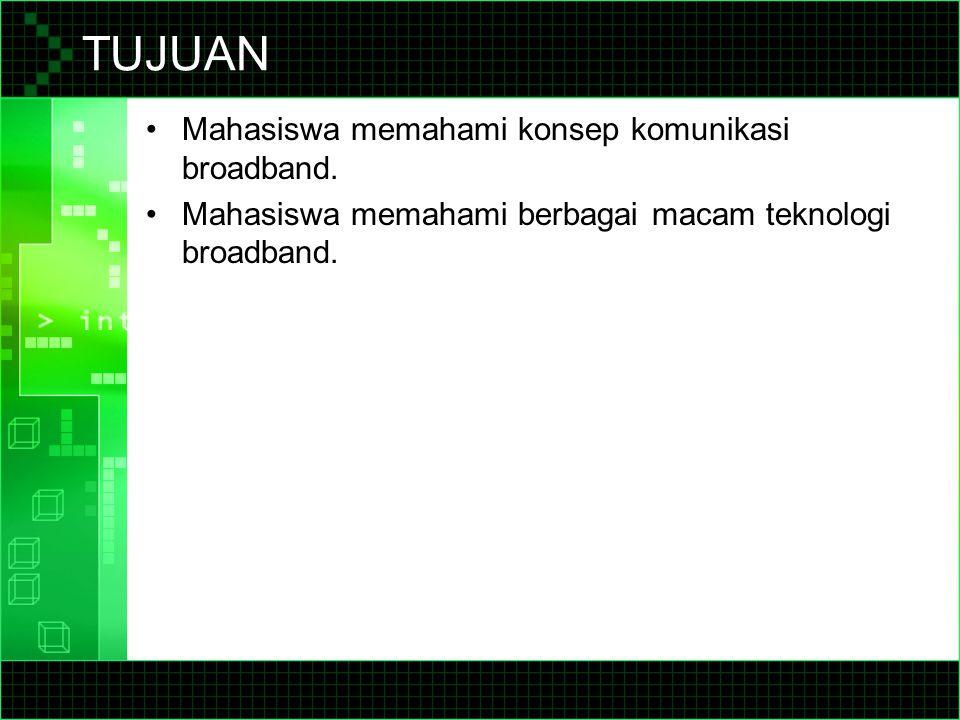 TUJUAN Mahasiswa memahami konsep komunikasi broadband.