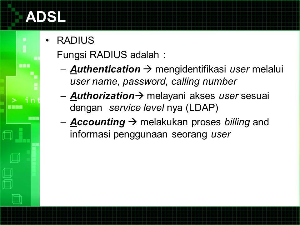 ADSL RADIUS Fungsi RADIUS adalah :
