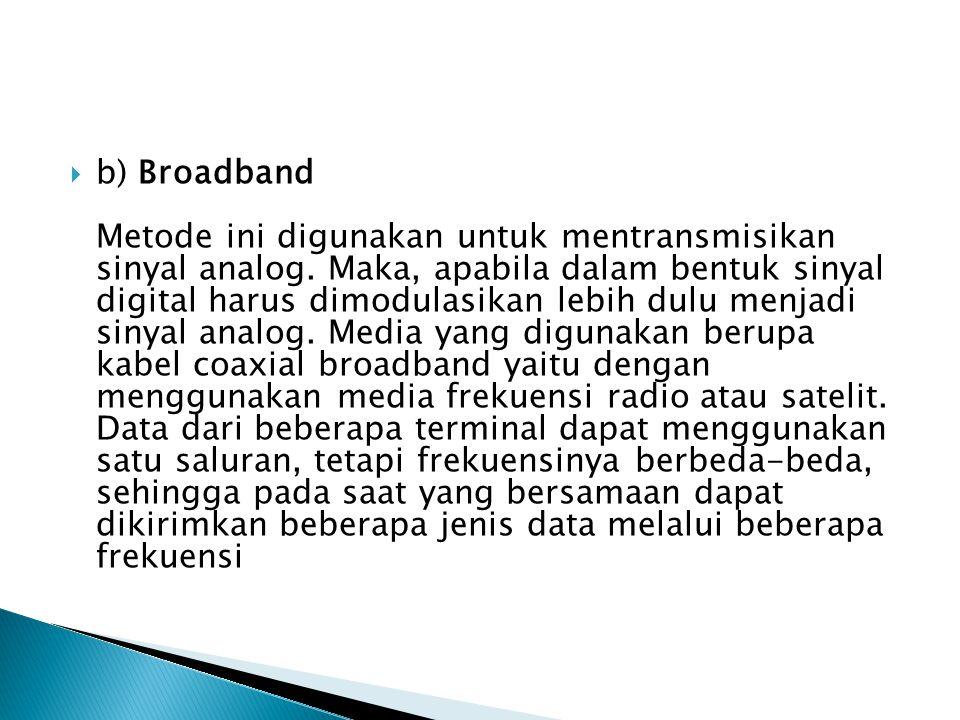 b) Broadband Metode ini digunakan untuk mentransmisikan sinyal analog