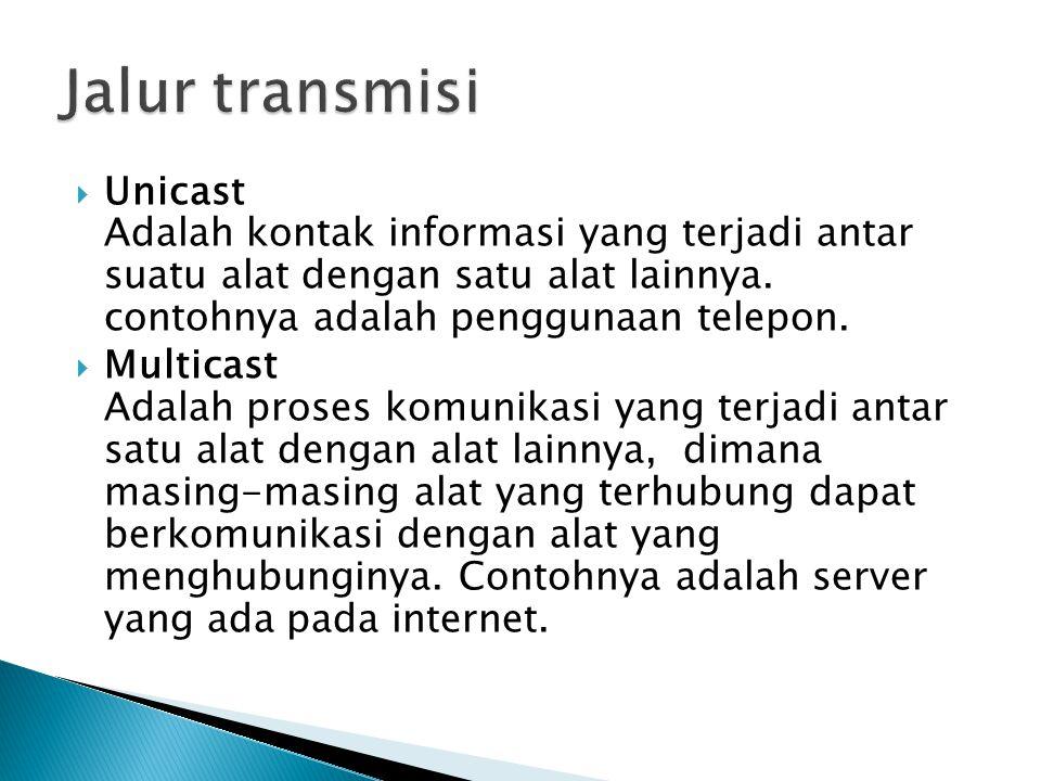 Jalur transmisi Unicast Adalah kontak informasi yang terjadi antar suatu alat dengan satu alat lainnya. contohnya adalah penggunaan telepon.