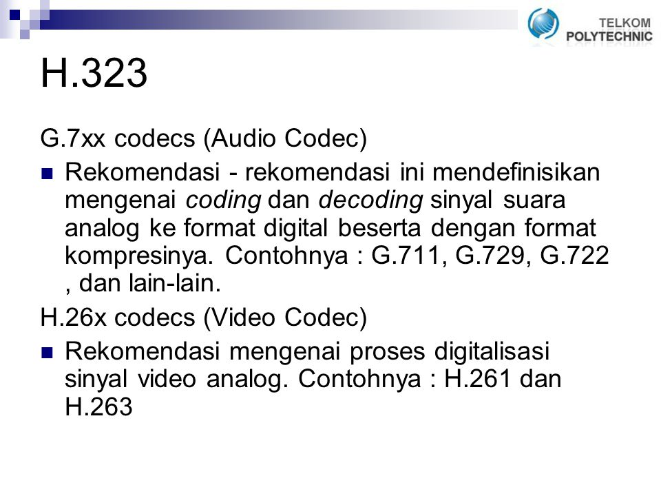 H.323 G.7xx codecs (Audio Codec)